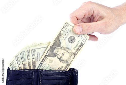 Man Pulling US Dollars from a Wallet
