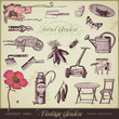 vector set: vintage garden design elements