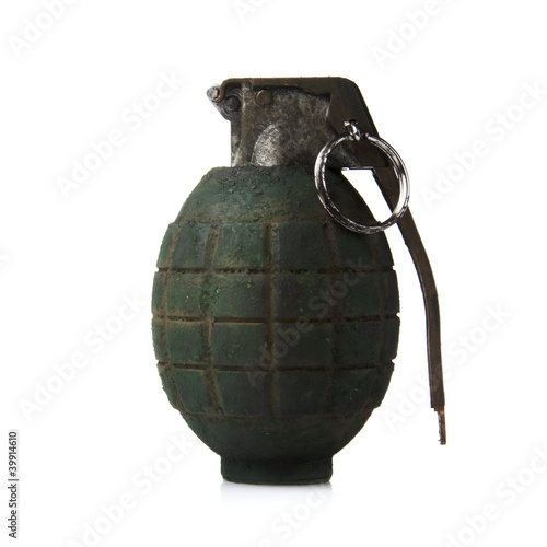 green grenade on white