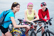 Three  young women on bicycle