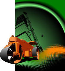 Road asphalt roller on green background. Vector illustration