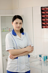 A woman doctor in the clinic