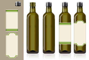 four olive oil bottles