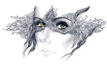 Abstrakcyjne ozdobione twarz kobiety