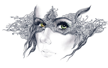 abstract decorated woman face