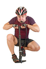 Cyclist inflate himself on white background