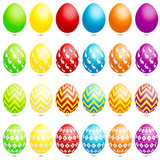 24 Easter Eggs Bunny/Zigzag/Flowers poster
