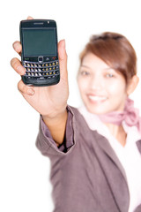 businesswoman shows his mobile phone forward   .