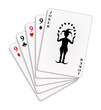Playing cards - four nines and joker