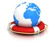 globe earth world sphere and lifebuoy ring