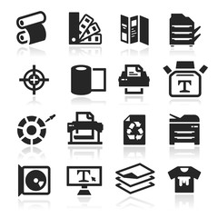 Print icons set - elegant series