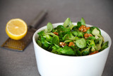 Corn salad with walnuts and lemon vinaigrette appetizer