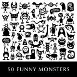 Huge vector set of funny cartoon aliens.