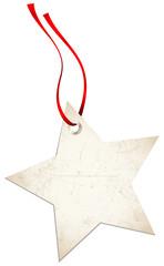 Christmas Hangtag Star Red Bow