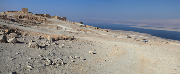 Panoramic view of Masada historical site from top and Dead Sea