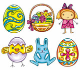 Easter cartoon icon set part 1