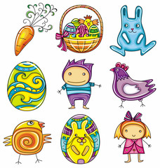 Easter doodles design elements (series)