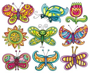 Cartoon butterflies set.