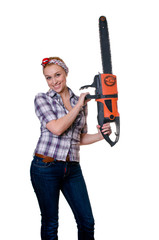 girl with chain saw