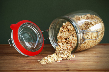 Glass jar of whole-grain cereal oats