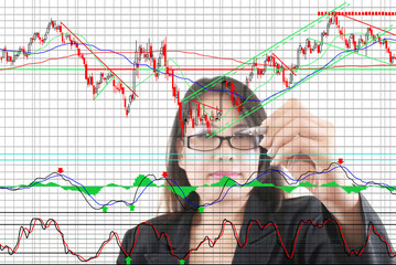 Business lady write finance graph for trade stock market.