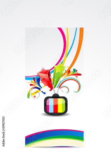 abstract colorful wave with television