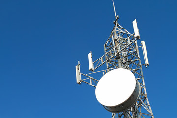 Telecommunications tower.Mobile phone base station