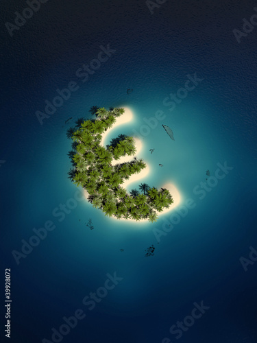 euro sign shaped tropical island