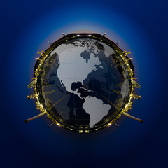 Circle panorama of Petrochemical industry.