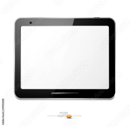 Vector with computer tablet on the white background