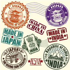 Set of rubber stamps. Asian countries. vector