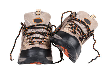 Sport trekking shoes isolated over white with clipping path