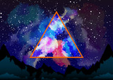 Mystic galaxy view through the astral triangle poster