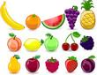 Мультфильм апельсин, банан, яблоко, клубника, груша