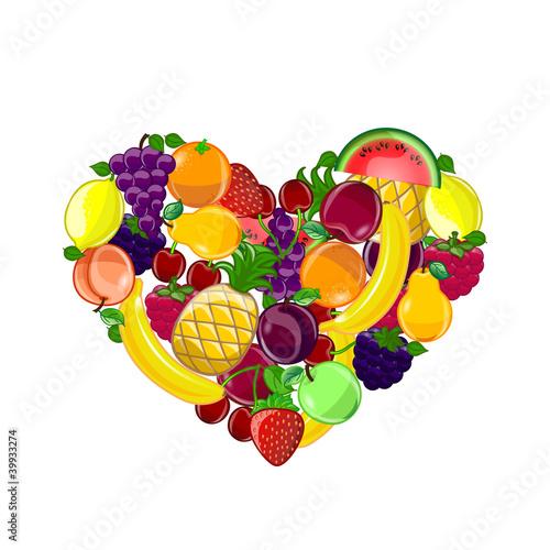 Абстрактный фон с сердцем форму плодов, вектор