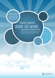 Fototapety Blue template for advertising brochure with clouds on the sky