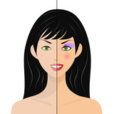 portrait of woman, half natural, half with make up and retouched poster