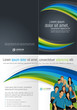 Blue, green and black template with business people