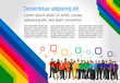 Colorful template for advertising with people in a colorful city