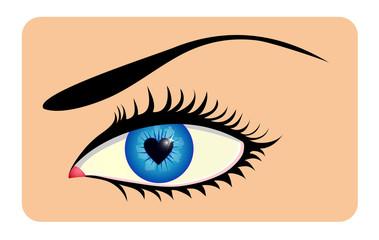 Female eye with heart shaped iris