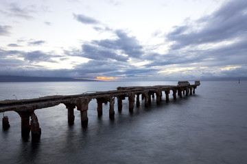 abandonded and dipadated concrete pier at lahaina, maui