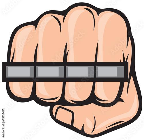 Fotobehang Pop Art brass knuckle fist
