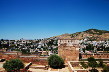 Alcazaba with city view of Granada