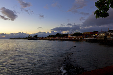 The town of Lahaina, Maui lights up at Dusk