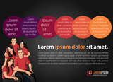 Fototapety Orange, purple template for advertising with business people