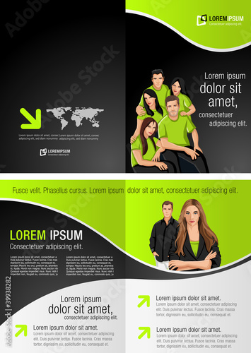Green and black template for advertising with business people