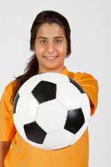 referee with a soccer ball (Focus on the ball)
