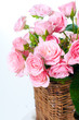 close-up of a bouquet of pink roses