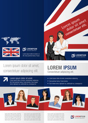 British flag template for advertising brochure with people