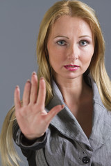 woman with hand stop gesture